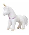 Pluche eenhoorn paarden knuffel wit/goud 30 cm