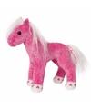 Pluche paard roze met glitters 18 cm