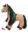 Pluche paarden knuffel bruin met bloemetjes 30 cm