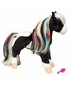 Pluche paarden knuffel zwart/wit 30 cm