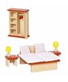 Houten slaapkamer meubeltjes voor poppenhuis