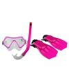 Roze kinder duikbril, snorkel en vliezen