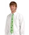 Groene klavertje vier stropdas verkleedaccessoire