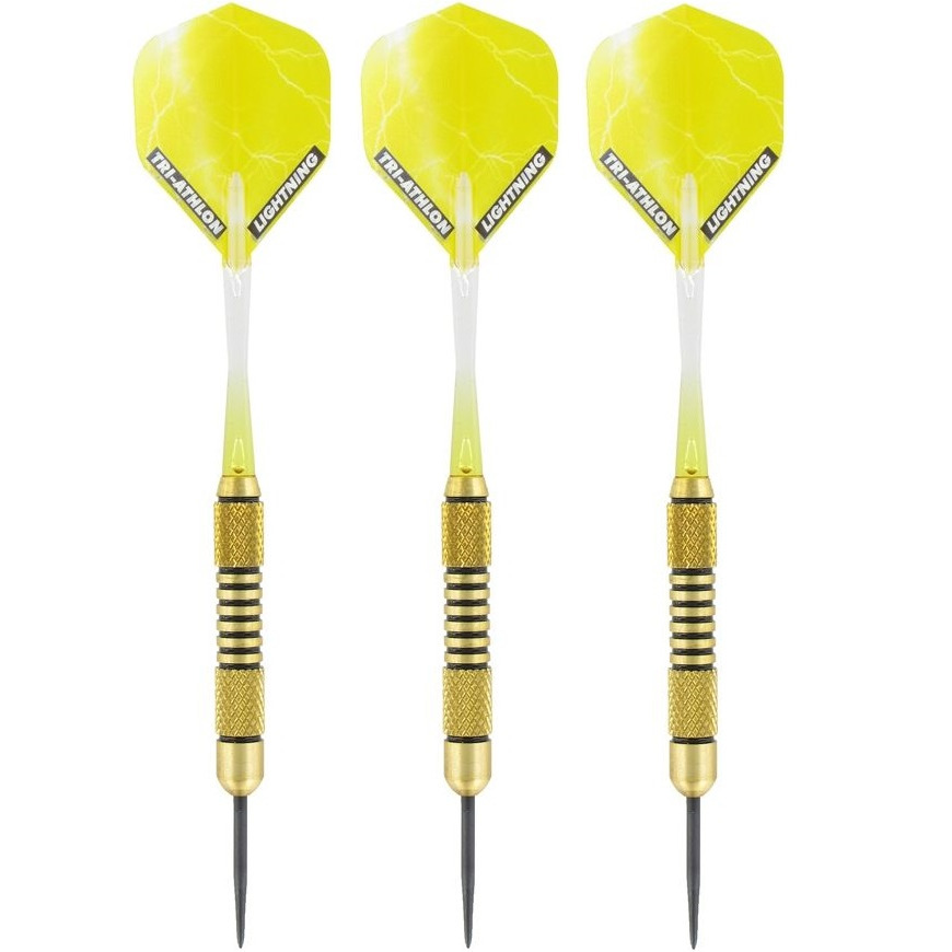 1x Set van 3 dartpijlen Speedy Yellow Brass 19 grams