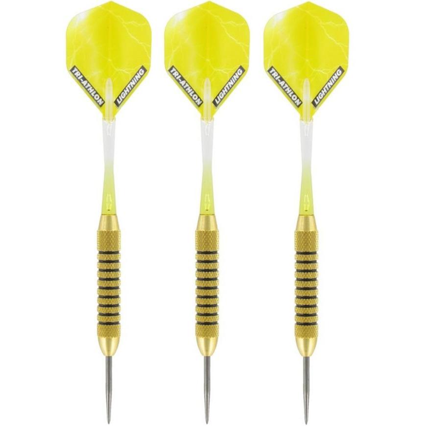 1x Set van 3 dartpijlen Speedy Yellow Brass 21 grams