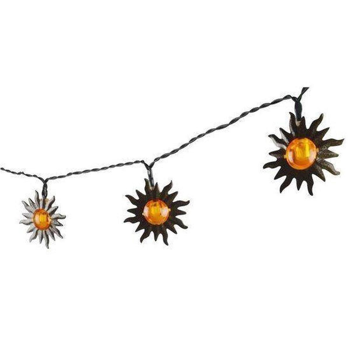 1x Solar lichtslinger met zonnetjes op zonne-energie 365 cm tuinverlichting