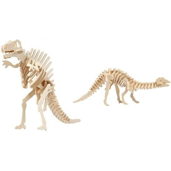 2x Houten Spinosaurus en Apatosaurus bouwpakket