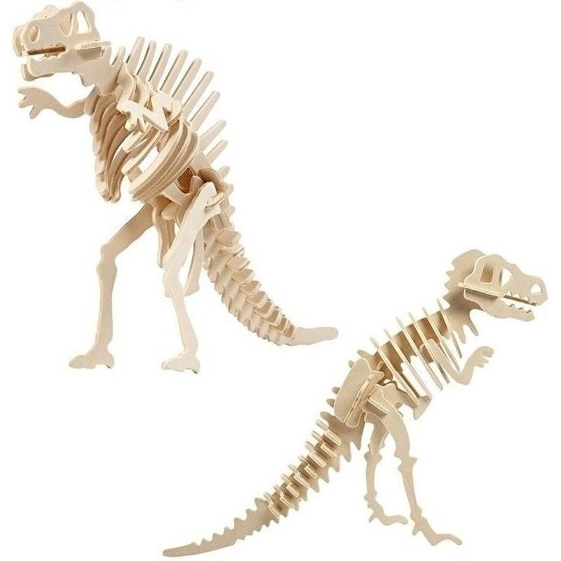 2x Houten Spinosaurus en Tyrannosaurus bouwpakket