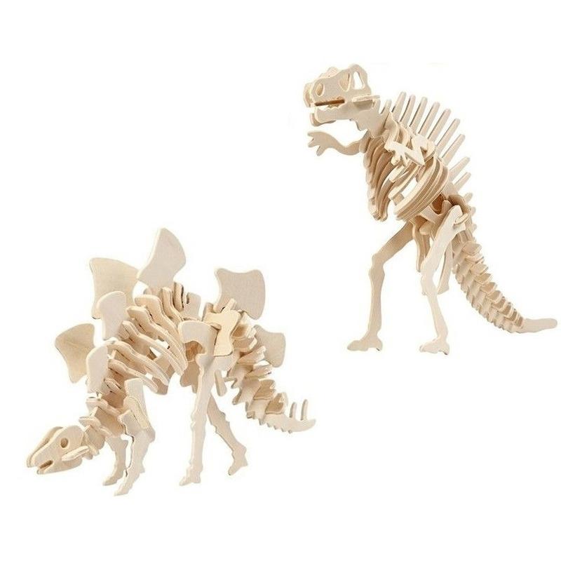 2x Houten Stegosaurus en Spinosaurus bouwpakket