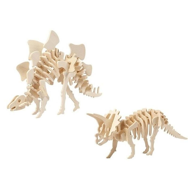 2x Houten Stegosaurus en Triceratops bouwpakket