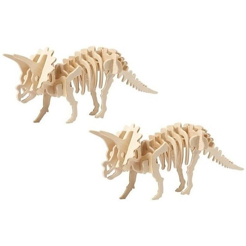 2x Houten Triceratops bouwpakket