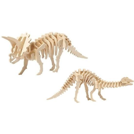 2x Houten Triceratops en Apatosaurus bouwpakket