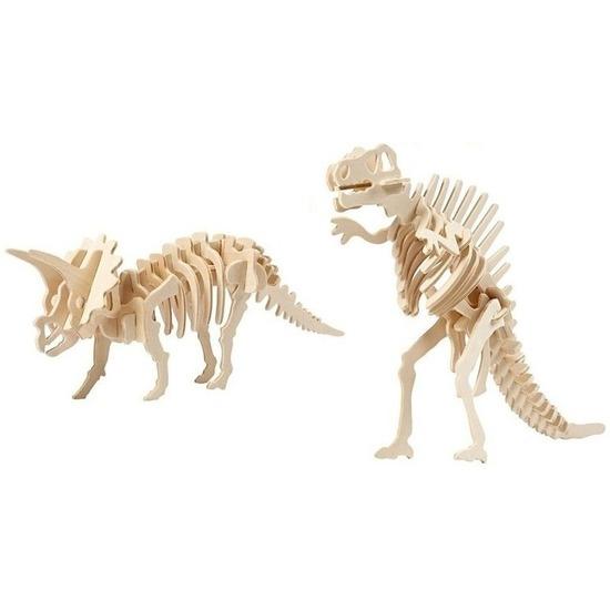 2x Houten Triceratops en Spinosaurus bouwpakket