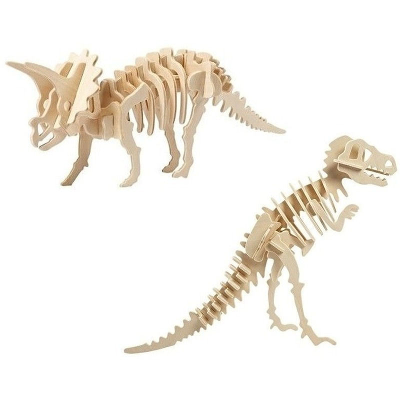 2x Houten Triceratops en Tyrannosaurus bouwpakket