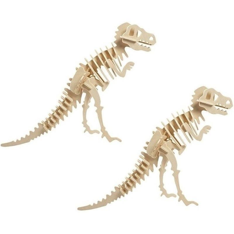 2x Houten Tyrannosaurus bouwpakket