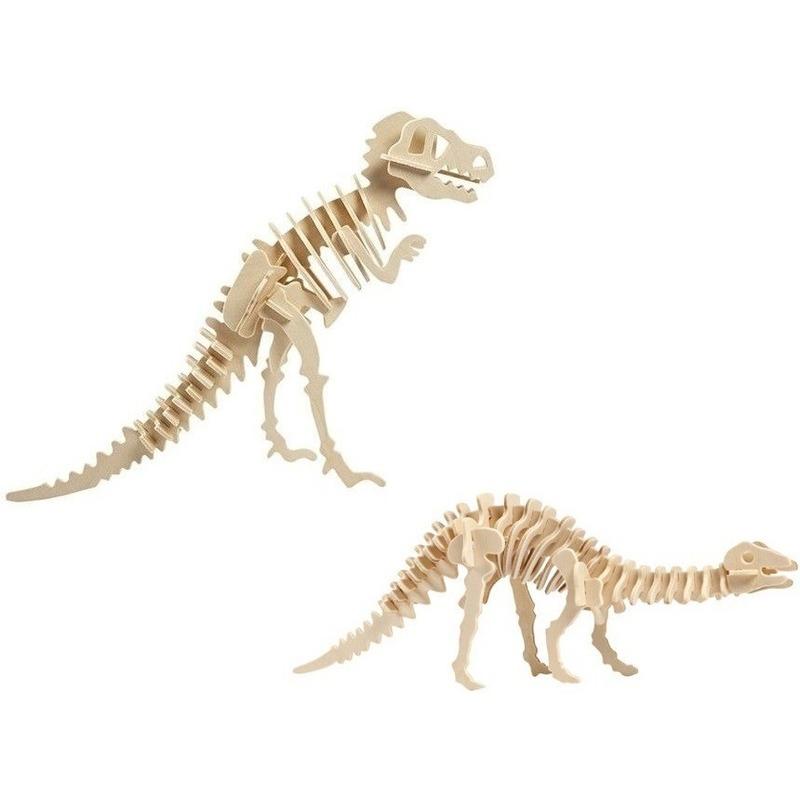2x Houten Tyrannosaurus en Apatosaurus bouwpakket