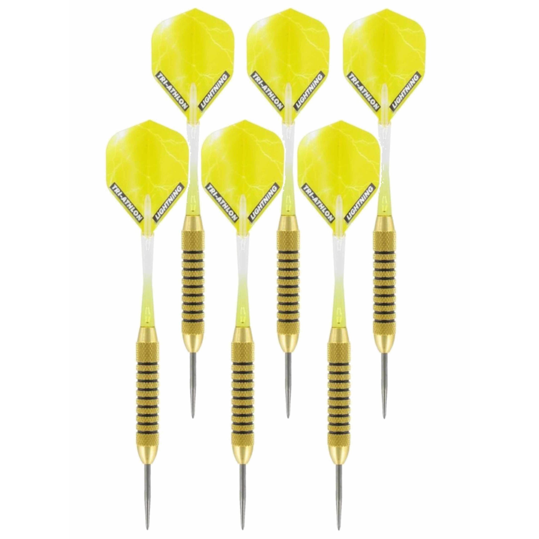 2x Set van 3 dartpijlen Speedy Yellow Brass 21 grams