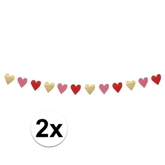 2x Valentijn slingers 2 meter