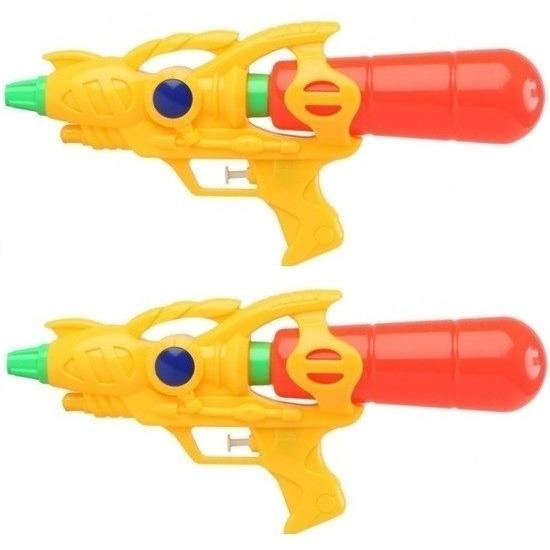 2x Voordelige waterpistolen geel 33 cm