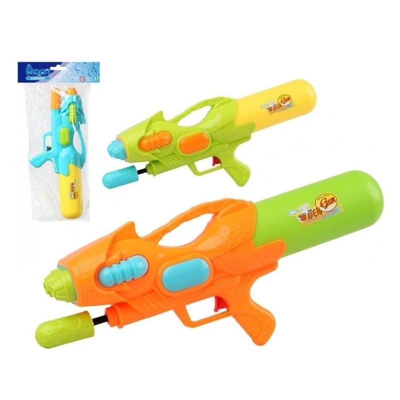 2x Waterpistolen met pomp blauw/geel 47 cm