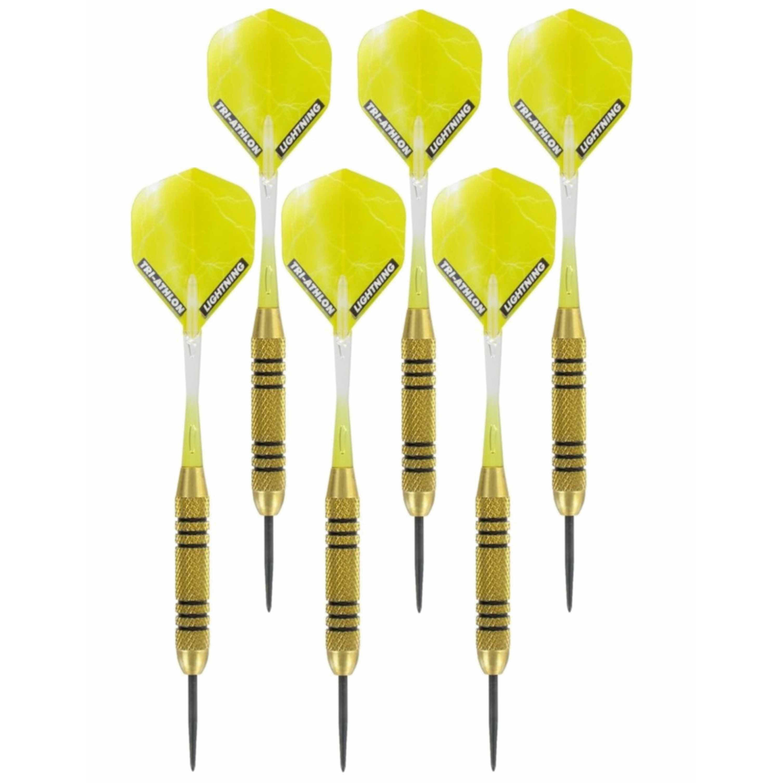 3x Set van 3 dartpijlen Speedy Yellow Brass 23 grams