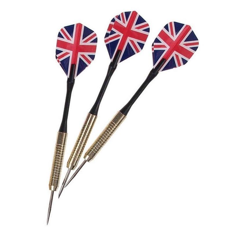 3x stuks Dartpijlen/pijltjes met Engelse/Britse vlag flights