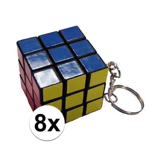 8x Sleutelhangers met kubus puzzel