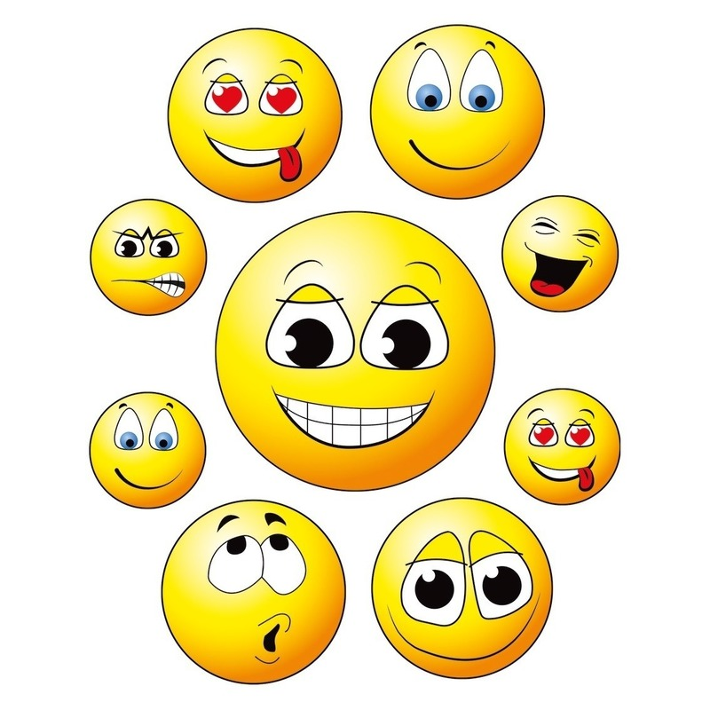 9x Raamstickers smileys/emoticon raamdecoratie