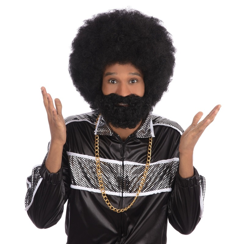 Afro snor, baard en pruik zwart