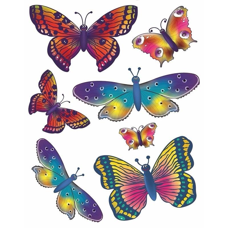 Autoraam stickers kleurige vlinders