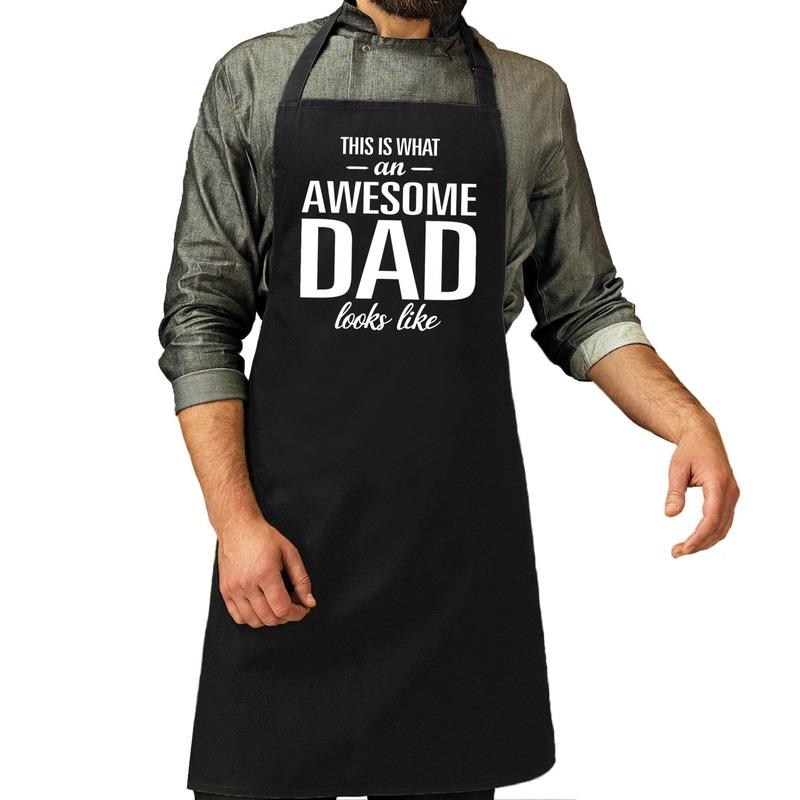 Awesome dad cadeau bbq/keuken schort zwart heren