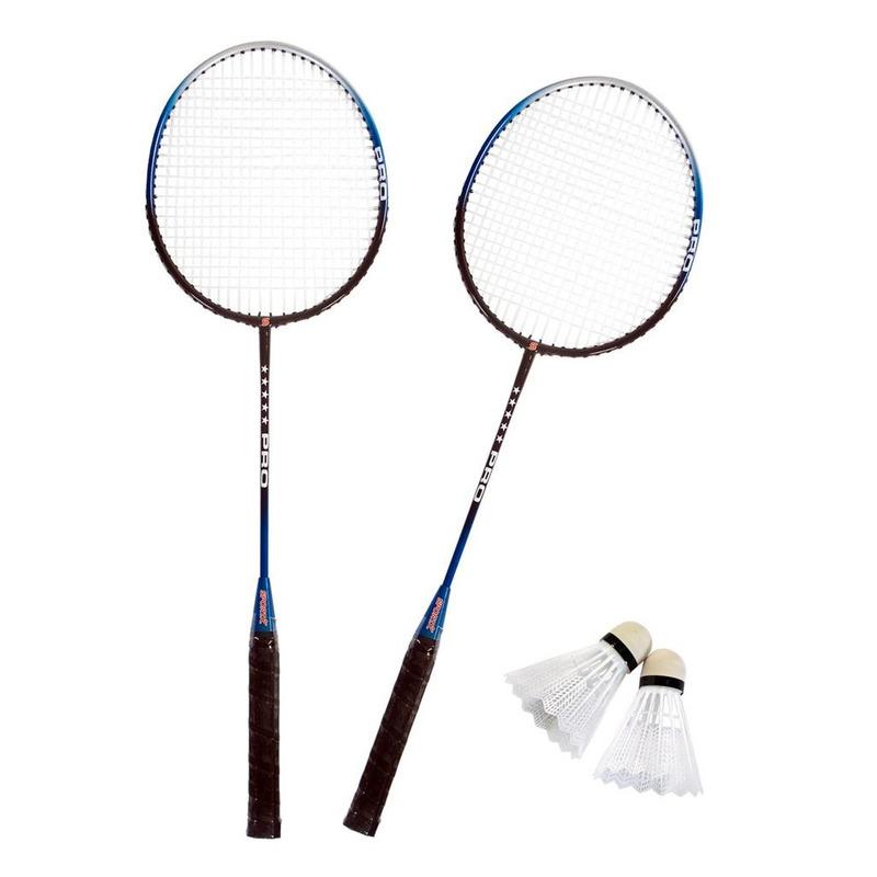 Badminton set zilver/blauw met 2 shuttles en opbergtas