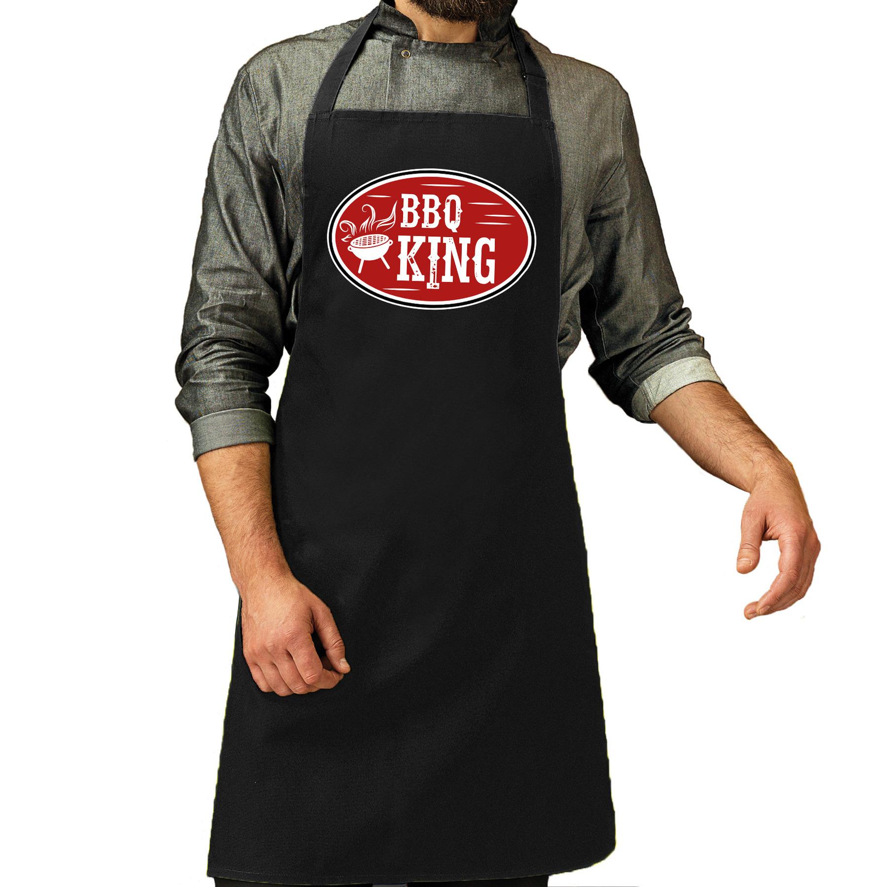 BBQ king cadeau schort zwart voor heren