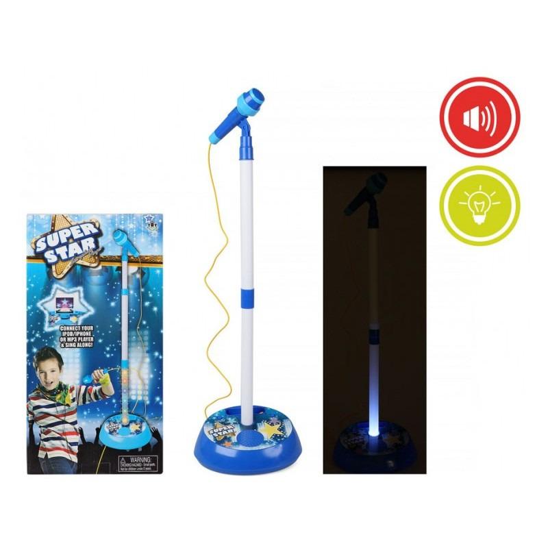 Blauwe speelgoed microfoon met licht en geluid voor jongens