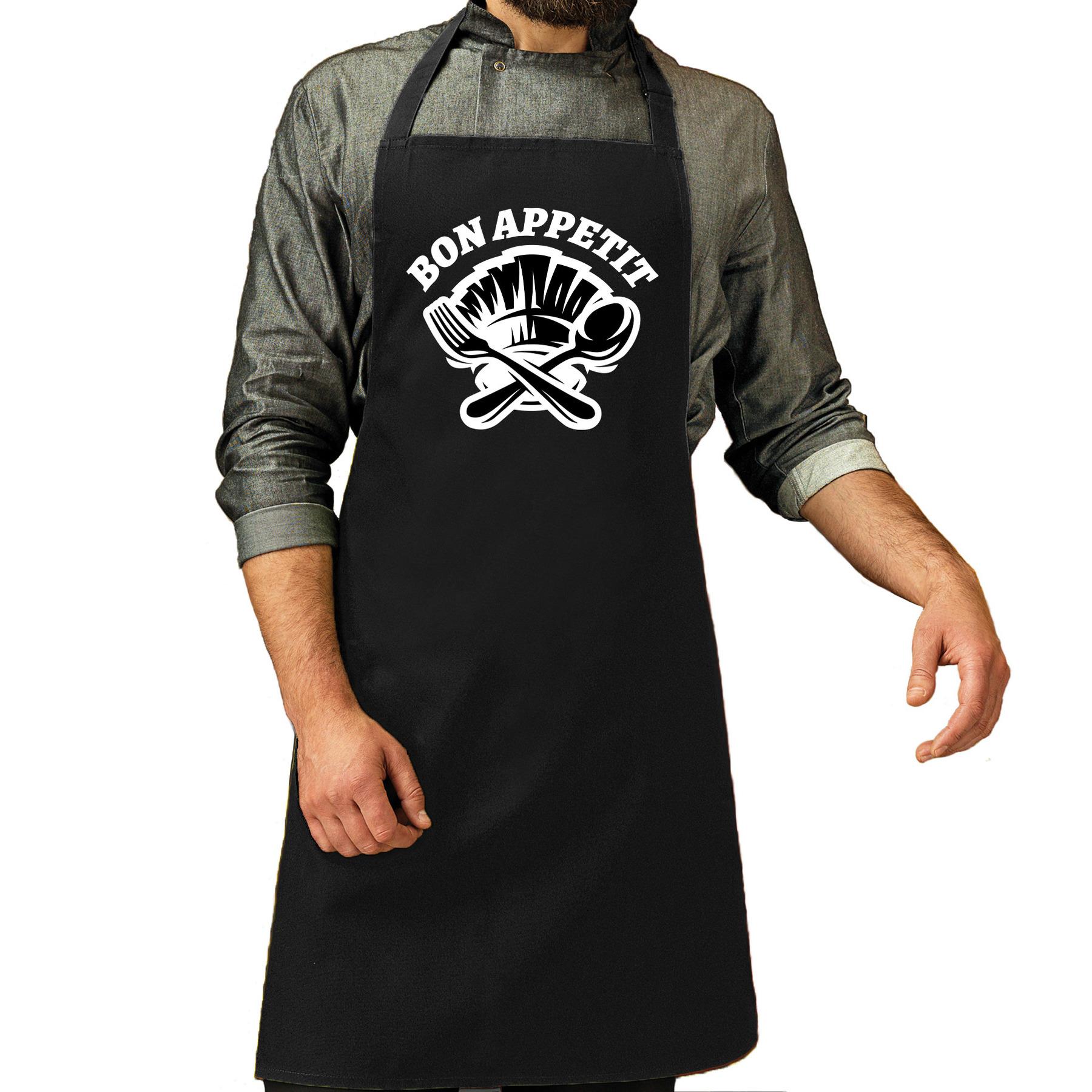 Bon appetit bbq schort - keukenschort zwart heren