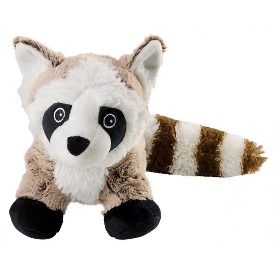 Bosdieren knuffels wasbeer bruin/wit 26 cm voor warmte of koeling
