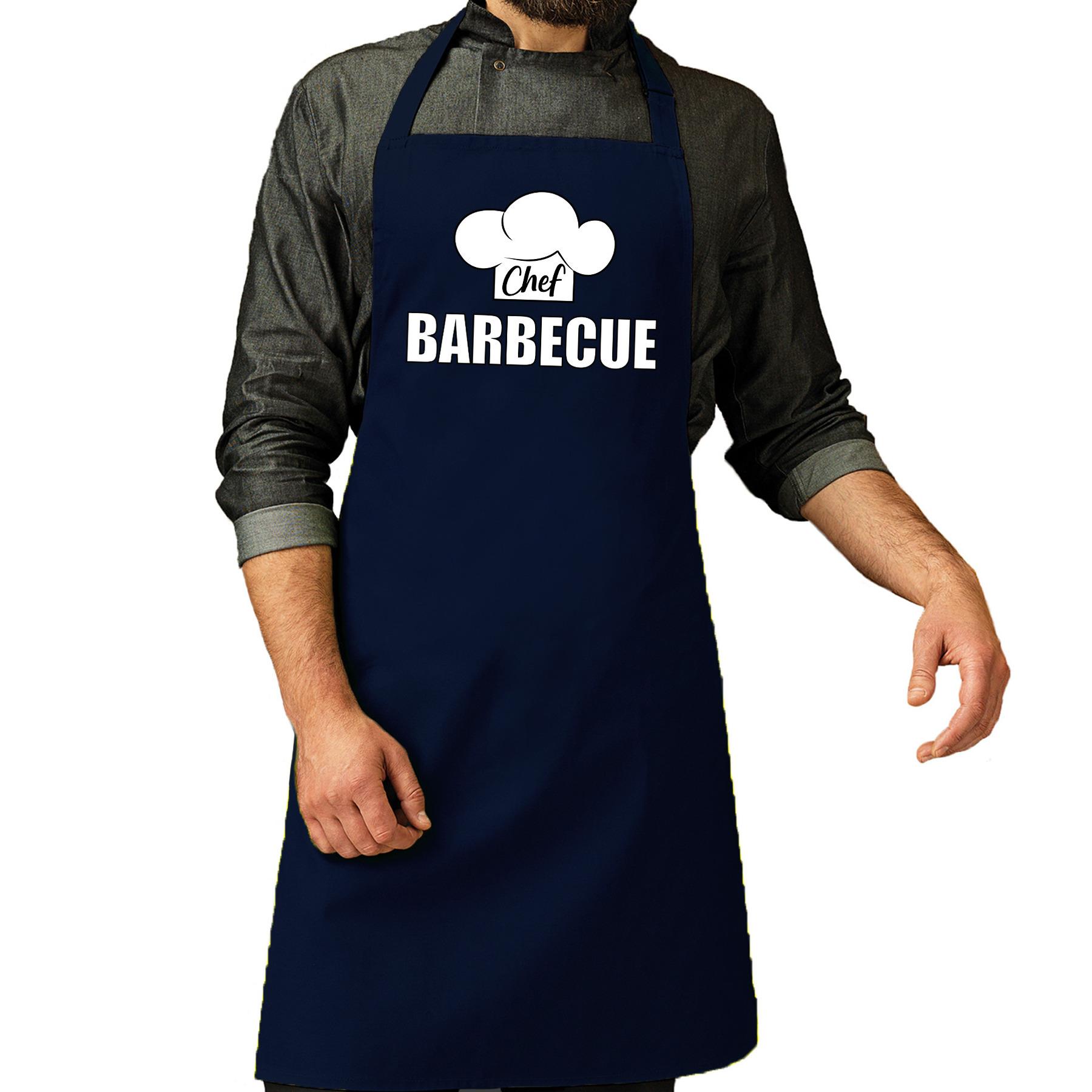 Chef barbecue schort - keukenschort navy heren