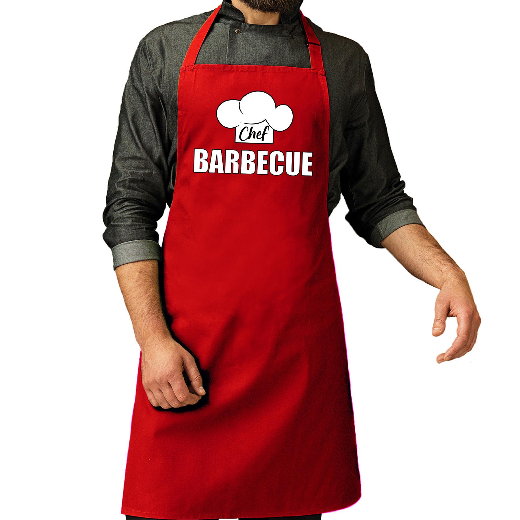 Chef barbecue schort - keukenschort rood heren