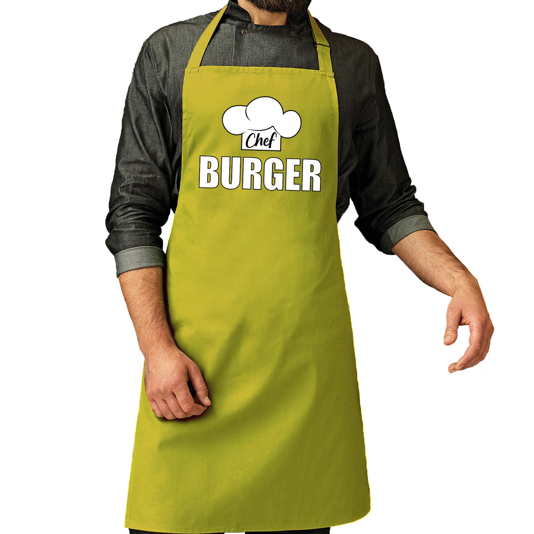 Chef burger schort - keukenschort lime groen heren