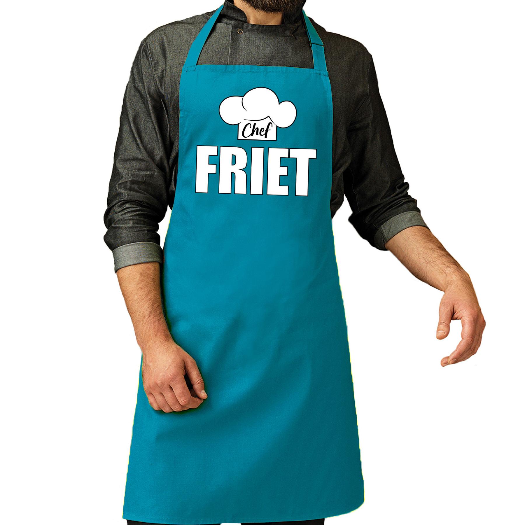 Chef friet schort - keukenschort turquoise heren