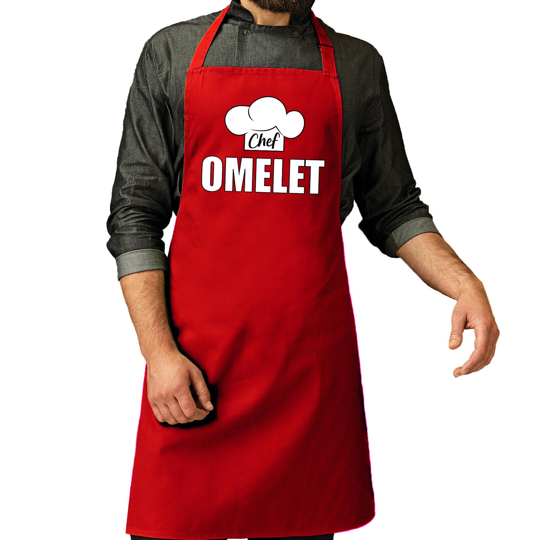 Chef omelet schort - keukenschort rood heren
