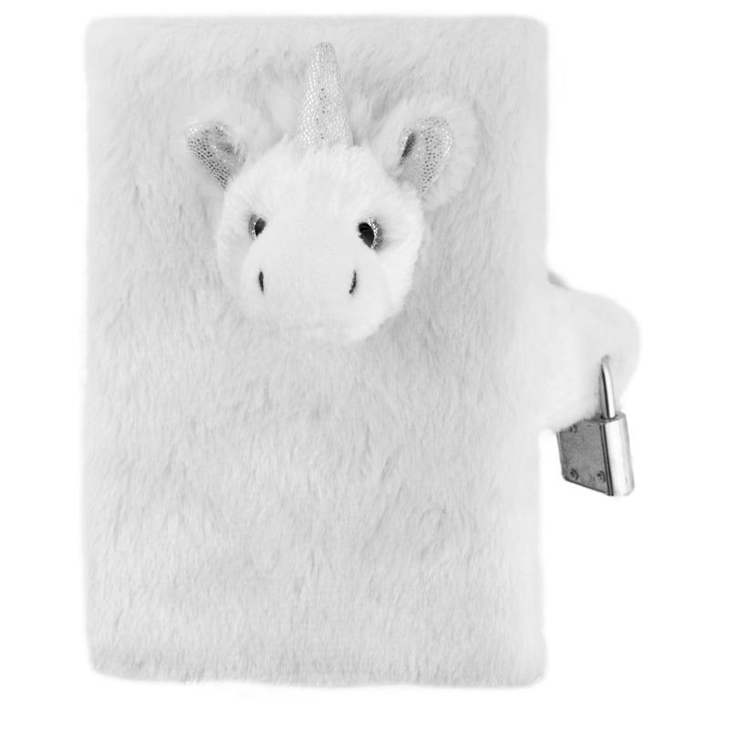 Dagboek witte/zilveren pluche eenhoorn A5 formaat voor meisjes