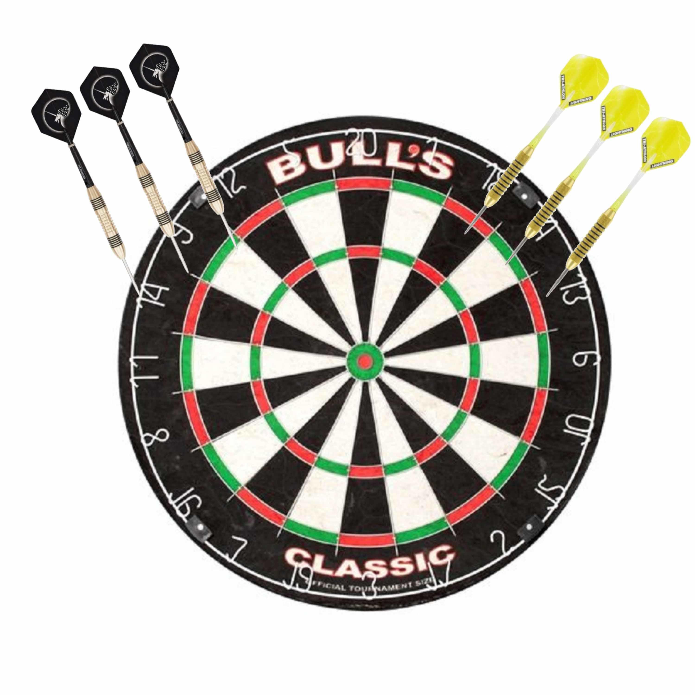 Dartbord Bulls The Classic met 2 sets dartpijlen 21 grams