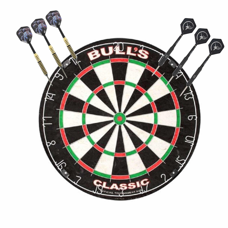 Dartbord Bulls The Classic met 2 sets dartpijlen 22 grams