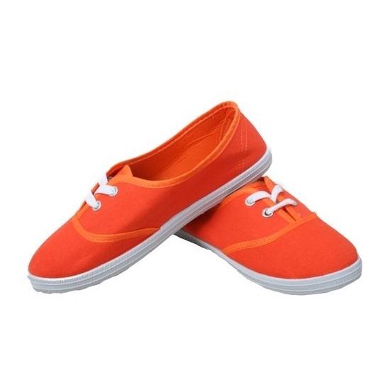 c8b53d3d1f2 Feest oranje sneakers/schoenen voor dames accessoires. katoenen oranje  schoenen met witte veters.