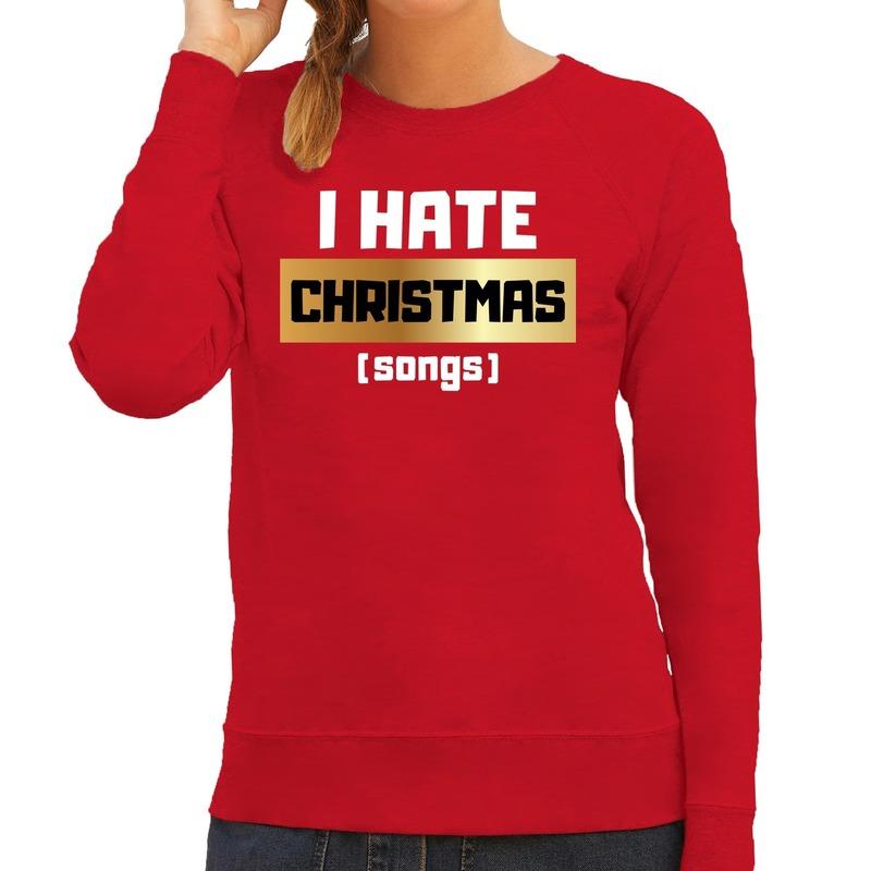 Foute Kersttrui I hate Christmas songs rood voor dames