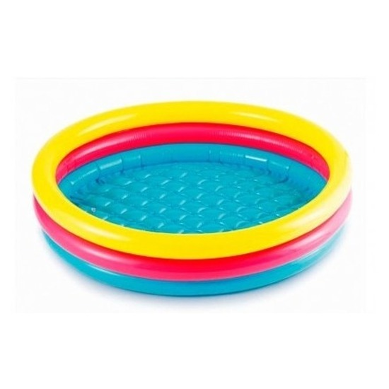Gekleurd rond opblaasbaar zwembad klein 86 cm baby/kinderen