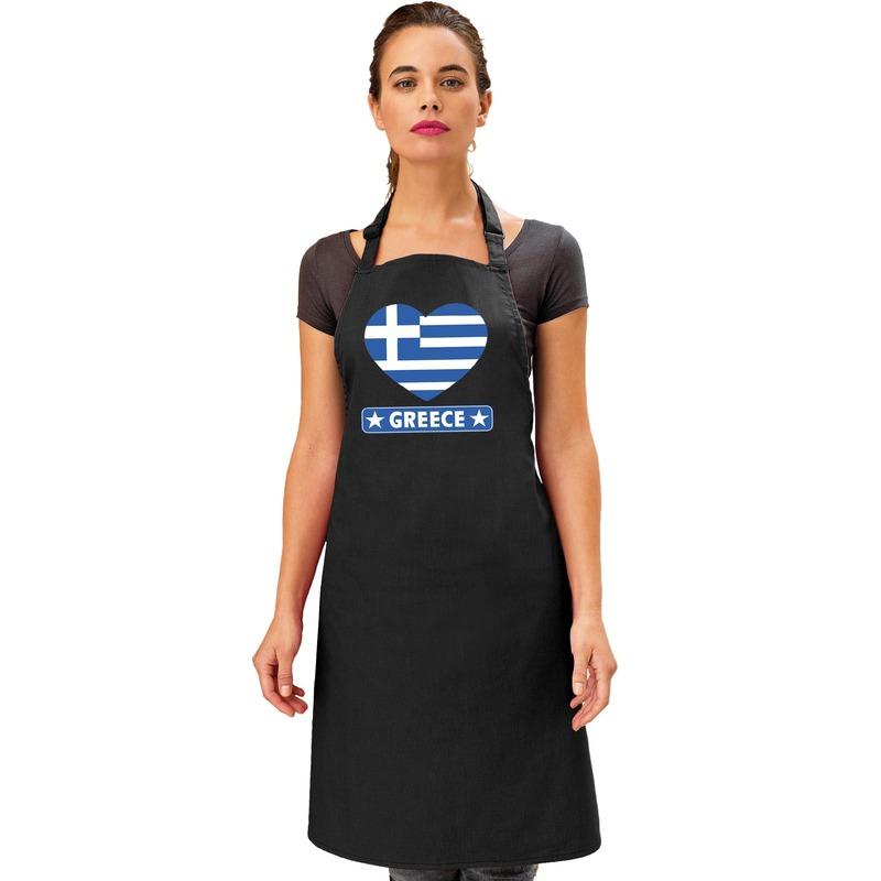 Griekenland hart vlag barbecueschort/ keukenschort zwart