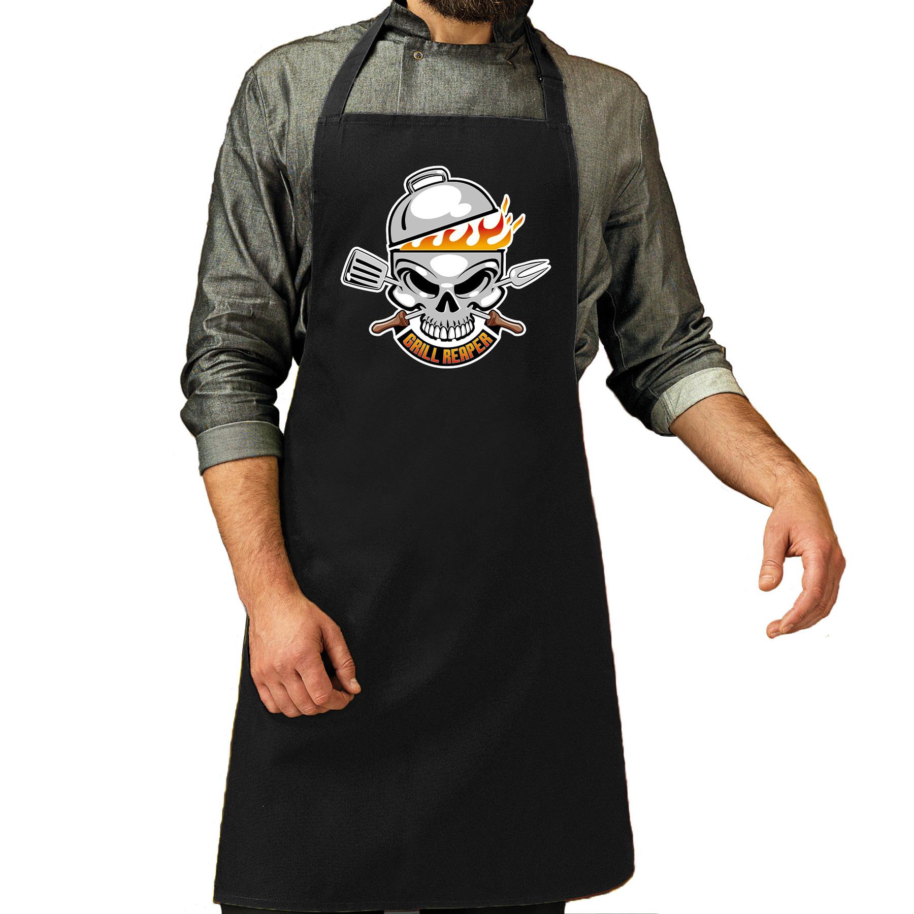 Grill reaper bbq schort - keukenschort zwart heren
