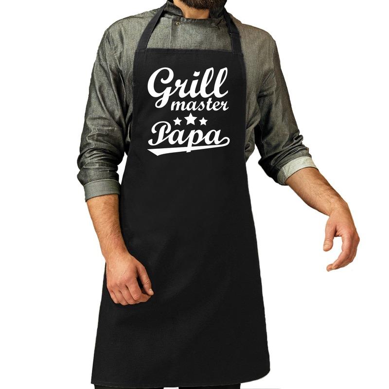 Grillmaster papa cadeau bbq/keuken schort zwart heren